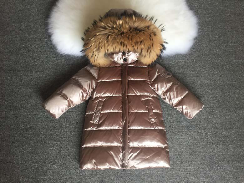 Детская курточка на пуху Lie Bei бежевая с мехом енота, Зимняя детская куртка, пуховик детский