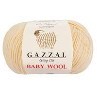 Пряжа из кашемира Gazzal Baby wool 829 молочный (Газзал Беби вул)