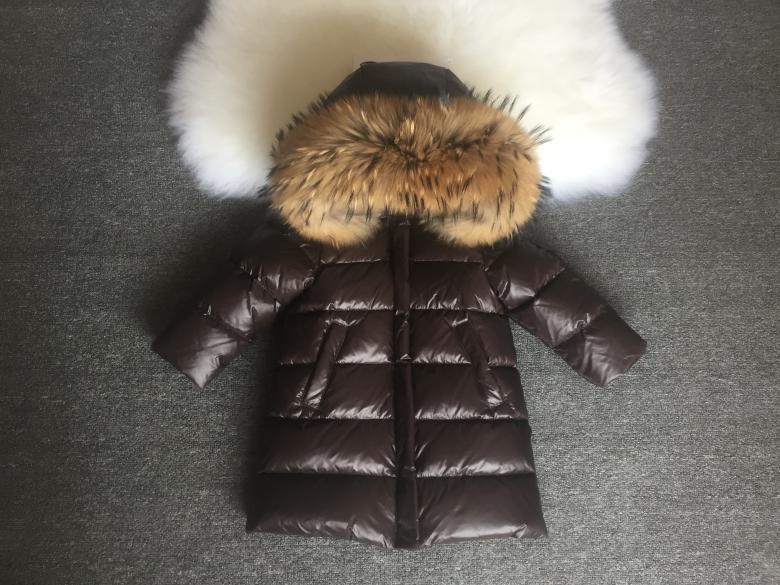 Детская курточка на пуху Lie Bei коричневая с мехом енота, Зимняя детская куртка, пуховик детский