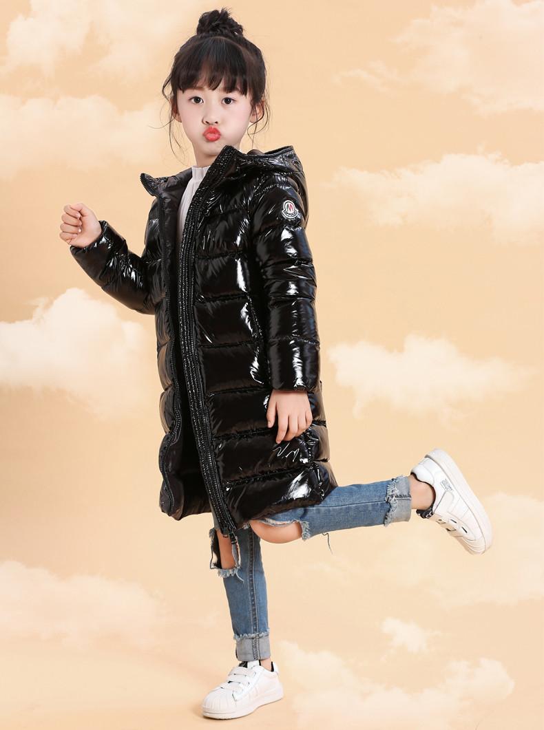 Детская курточка на пуху Lie Bei черная удлиненная, Зимняя детская куртка, пуховик детский