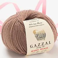 Пряжа из кашемира Gazzal Baby wool 835 кофе с молоком (Газзал Беби вул)
