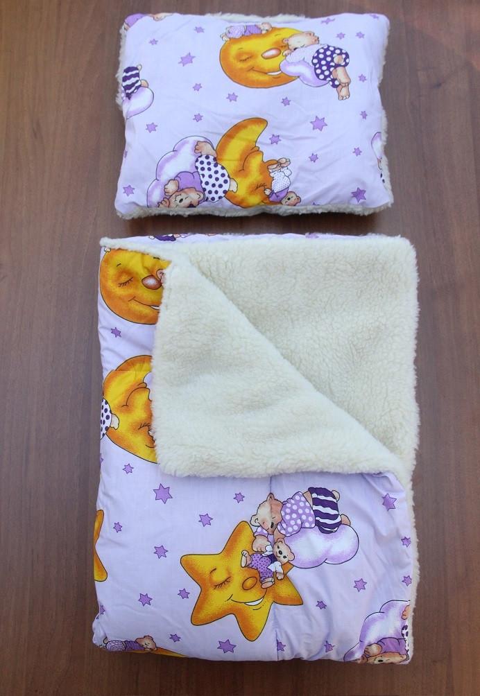 cee4e92a604a Детское одеяло+подушка «Мишки на тучке», на овчина - Интернет-магазин