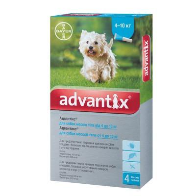 Адвантикс Advantix для собак 4-10 кг, 4 шт в упаковке