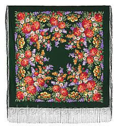 День Победы 235-10, павлопосадский платок (шаль) из уплотненной шерсти с шелковой вязанной бахромой