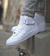 Женские кроссовки Nike Air Force белые высокие ( реплика)
