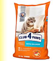 Сухой корм Клуб 4 Лапы Premium для кошек с лососем 14КГ