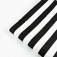 Отрез ткани с широкой чёрной полоской 25 мм на белом (№1396)