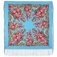 День Победы 235-13, павлопосадский платок (шаль) из уплотненной шерсти с шелковой вязанной бахромой, фото 1