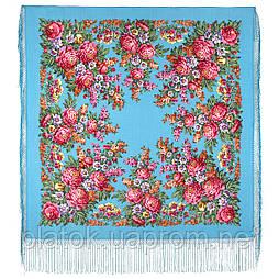 День Победы 235-13, павлопосадский платок (шаль) из уплотненной шерсти с шелковой вязанной бахромой
