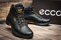 Мужские  зимние кожаные ботинки Ecco Tracking Black Night (реплика)