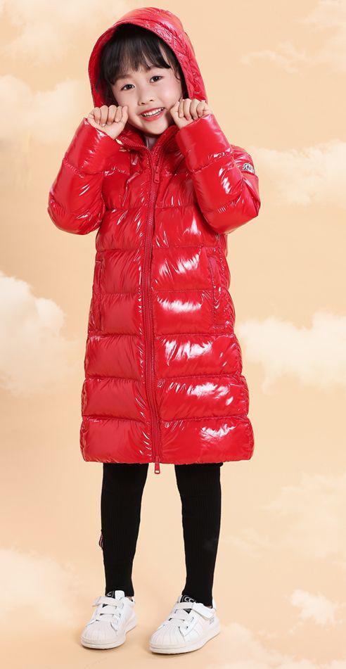 Детская курточка на пуху Lie Bei красная удлиненная, Зимняя детская куртка, пуховик детский