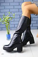 Зимние кожаные сапоги черные на удобном каблуке полный мех 36