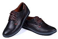 Мужские кожаные туфли в спортивном стиле Levis Stage1 Chocolate (реплика)