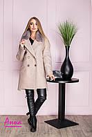 Зимнее женское пальто из шерсти на утеплителе и с мехом 6402123, фото 1