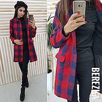 Буклированное женское пальто в клетку 6602126