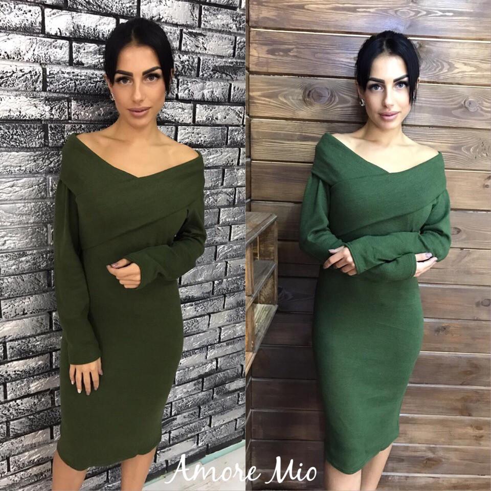 506d7dcbb78 Купить Ангоровое платье миди с вырезом-лодочкой 73031955 недорого в ...