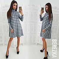 Ангоровое платье-трапеция с высоким горлом 66031956