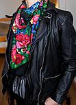 День Победы 235-14, павлопосадский платок (шаль) из уплотненной шерсти с шелковой вязанной бахромой, фото 4