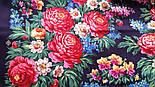 День Победы 235-14, павлопосадский платок (шаль) из уплотненной шерсти с шелковой вязанной бахромой, фото 7