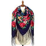 День Победы 235-14, павлопосадский платок (шаль) из уплотненной шерсти с шелковой вязанной бахромой, фото 2