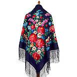 День Победы 235-14, павлопосадский платок (шаль) из уплотненной шерсти с шелковой вязанной бахромой, фото 3