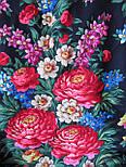 День Победы 235-14, павлопосадский платок (шаль) из уплотненной шерсти с шелковой вязанной бахромой, фото 5