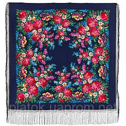 День Победы 235-14, павлопосадский платок (шаль) из уплотненной шерсти с шелковой вязанной бахромой