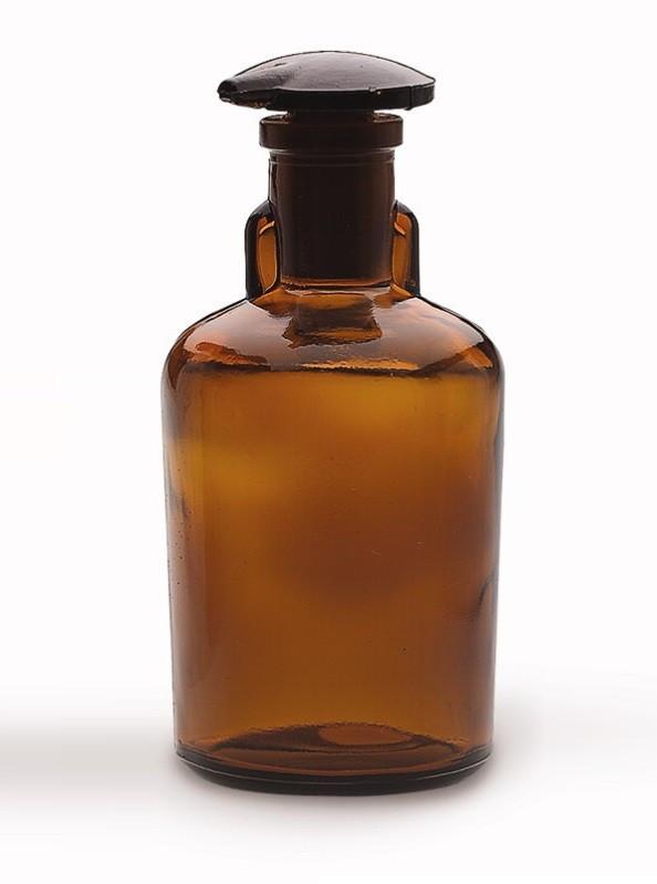Бутыль для реактивов с пришлифованной пробкой, узкое горло, темная 30 мл, стекло