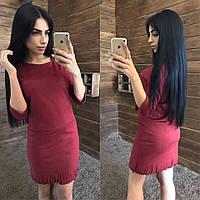 Замшевое платье прямого кроя с рукавом 3/4 41031960
