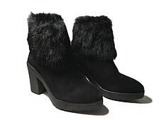 Стильные замшевые ботинки на каблуке с меховым ободком, фото 3