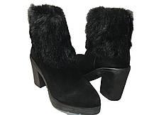 Стильные замшевые ботинки на каблуке с меховым ободком, фото 2