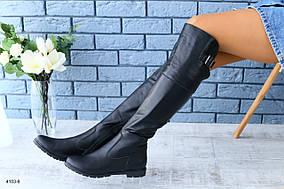 Демисезонные натуральные кожаные сапоги-ботфорты черные