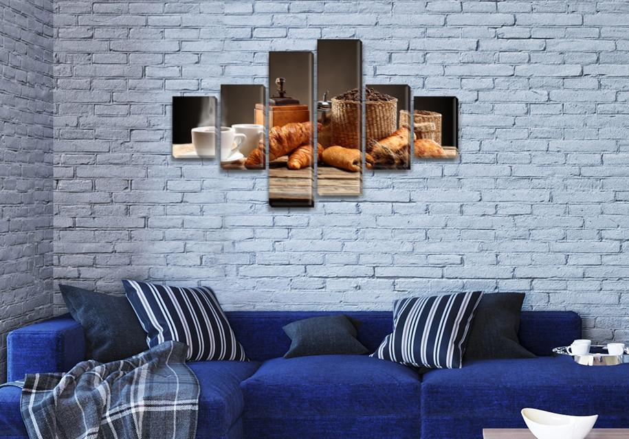 Картина модульная Кофе и круасан  на ПВХ ткани, 80x135 см, (30x20-2/40х20-2/75x20-2)