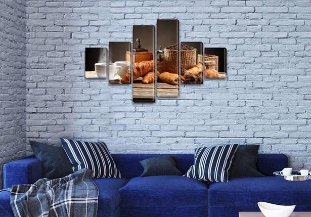 Картина модульная Кофе и круасан  на ПВХ ткани, 80x135 см, (30x20-2/40х20-2/75x20-2), фото 2