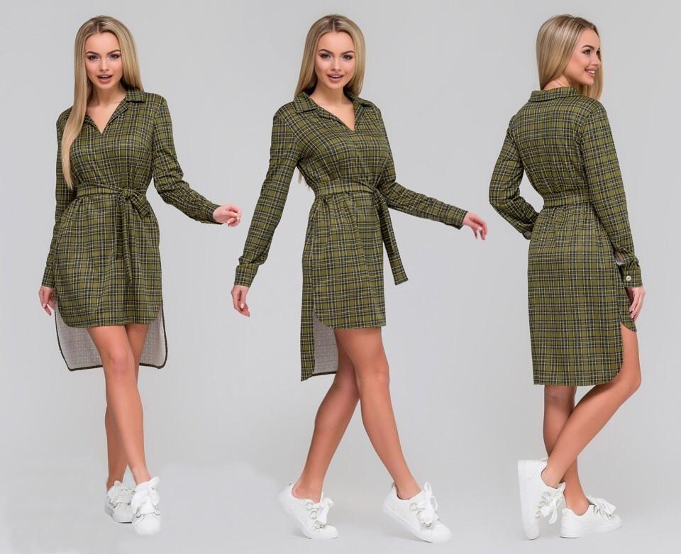 52cb280017f Модное женское платье - рубашка в клетку с поясом   продажа