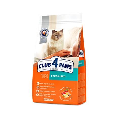 """Полнорационный сухой корм для взрослых стерилизованных кошек CLUB 4 PAWS Премиум """"Стерилизованные"""", 5 кг"""