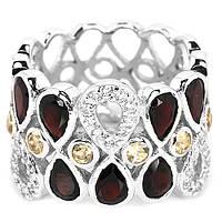Кольцо серебряное 925 натуральный красно - оранжевый гранат, цитрин, цирконий.