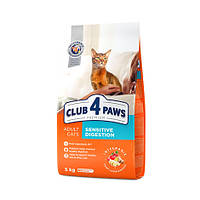 """Полнорационный сухой корм для взрослых кошек CLUB 4 PAWS Премиум """"Чувствительное пищеварение"""", 5 кг"""