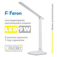 Светодиодная настольная лампа Feron DE1725 30LED 9W 4000K белая нейтральная (для школьника), фото 1