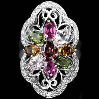 Кольцо серебряное 925 натуральный ААА турмалин, цирконий.