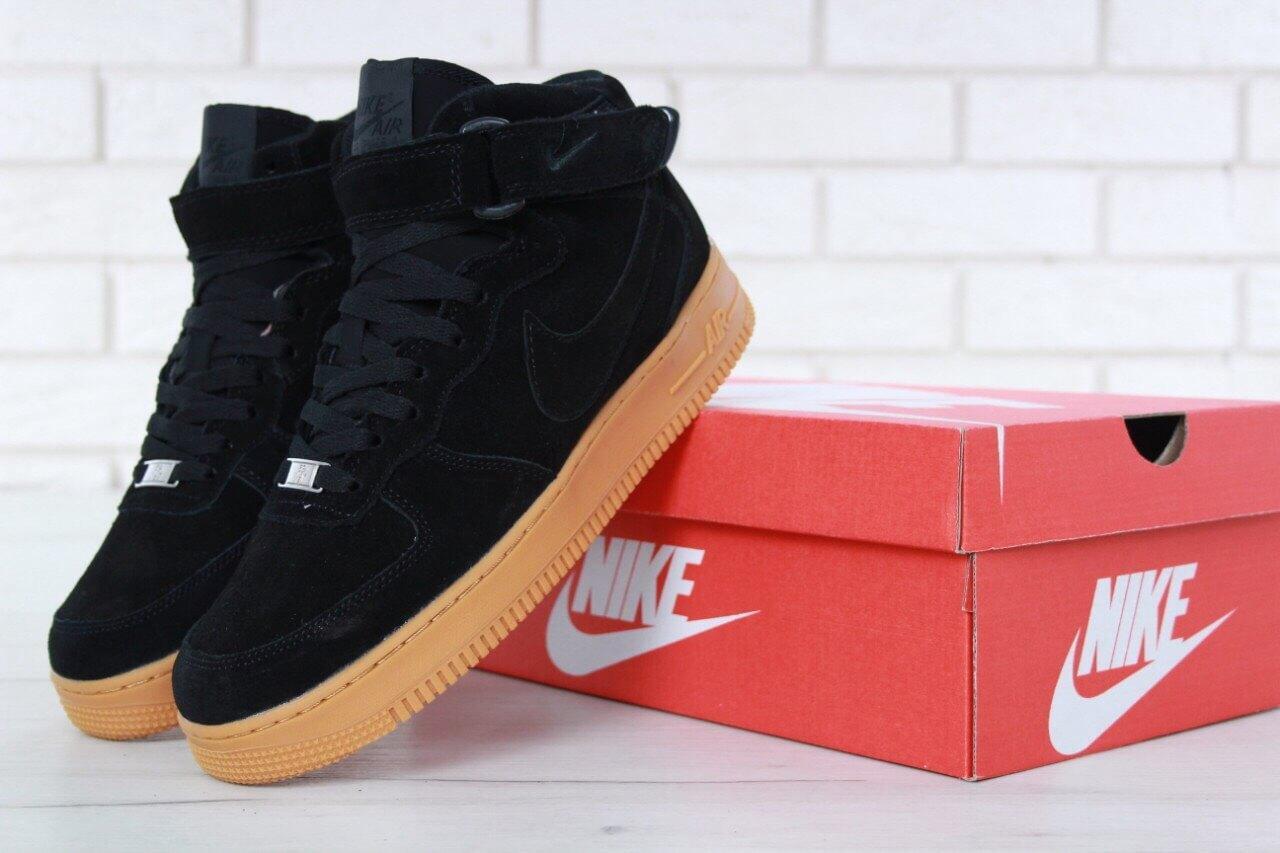 Мужские зимние кроссовки с мехом Nike Air Force 1 Hi Suede Black WMNS, фото 1