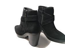 Стильные замшевые ботинки на каблуке, фото 3