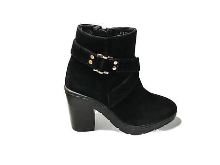 Стильные замшевые ботинки на каблуке, фото 2