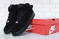 Мужские зимние кроссовки с мехом Nike Air Force 1 High Triple Black Winter , фото 1