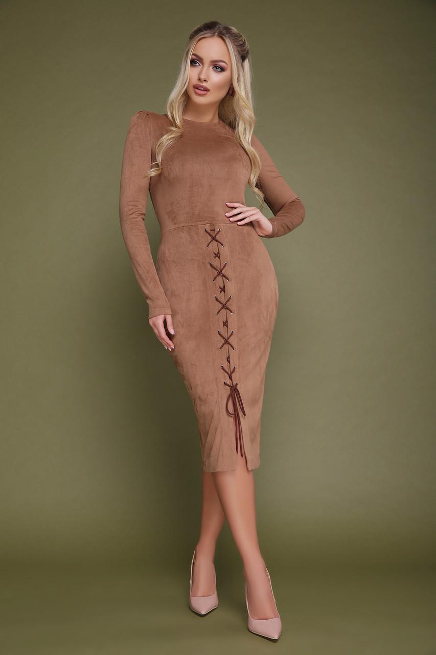 Женское замшевое платье силуэтное бежевое Таяна д/р