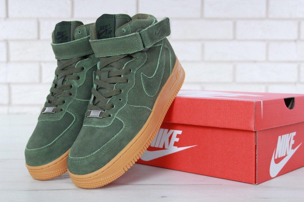 Мужские зимние кроссовки с мехом Nike Air Force 1 High Green Winter