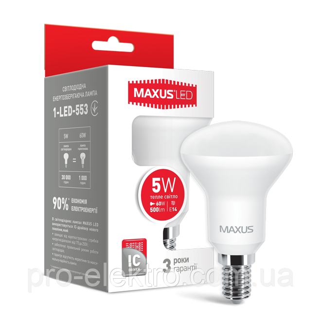 LED лампа Maxus R50 5W теплый свет E14 (1-LED-553)