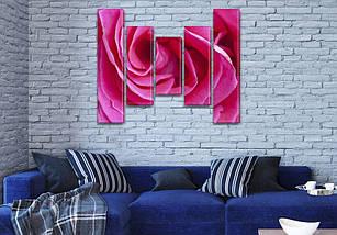 Модульная картина  Роза розовая  на ПВХ ткани, 90x110 см, (90x20-2/60х20-2/45x20), фото 3