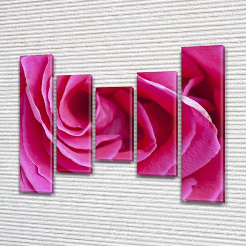 Модульная картина  Роза розовая  на ПВХ ткани, 90x110 см, (90x20-2/60х20-2/45x20)