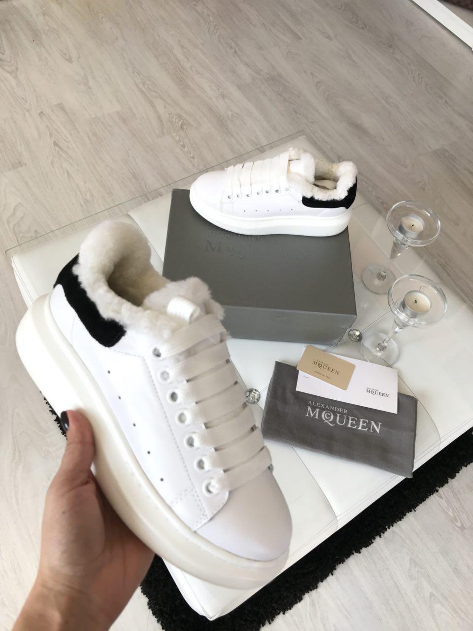 Женские кроссовки зимние белые кожаные Alexander Mcqueen